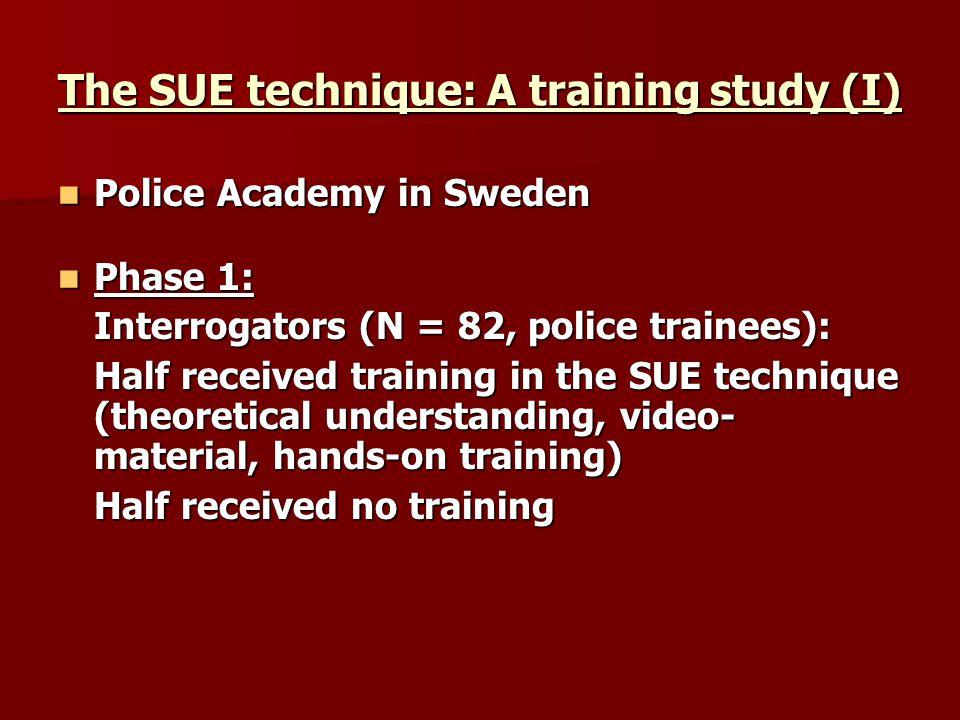 The SUE technique: A training study (I) Police Academy in Sweden Police Academy in Sweden Phase 1: Phase 1: Interrogators (N = 82, police trainees): H
