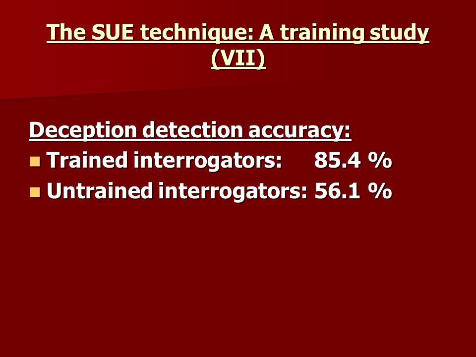 The SUE technique: A training study (VII) Deception detection accuracy: Trained interrogators: 85.4 % Trained interrogators: 85.4 % Untrained interrog