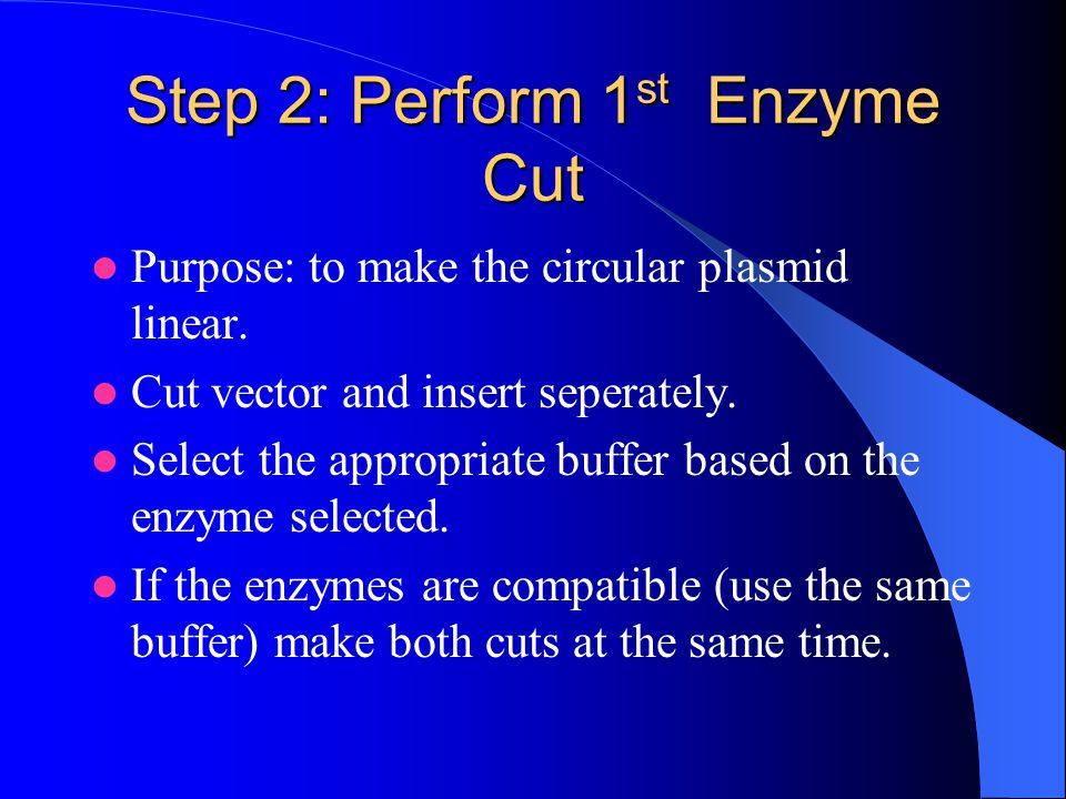 Step 2: Perform 1 st Enzyme Cut Purpose: to make the circular plasmid linear.