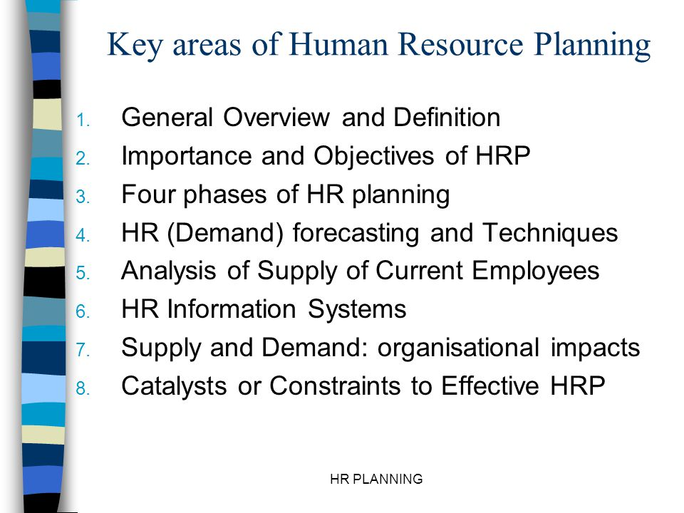 HR PLANNING Human Resource Planning ( Manpower Planning ) Definition: n The process used by an organisation to assess the demand for and supply of future human resources.