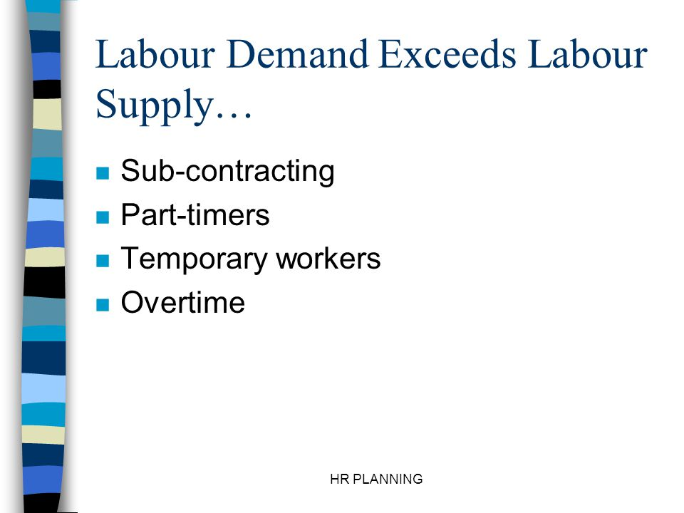 HR PLANNING Labour Demand Exceeds Labour Supply… n Sub-contracting n Part-timers n Temporary workers n Overtime