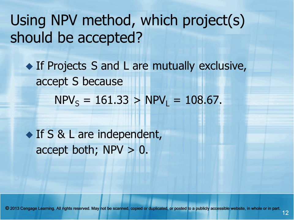 Using NPV method, which project(s) should be accepted? If Projects S and L are mutually exclusive, accept S because NPV S = 161.33 > NPV L = 108.67. I