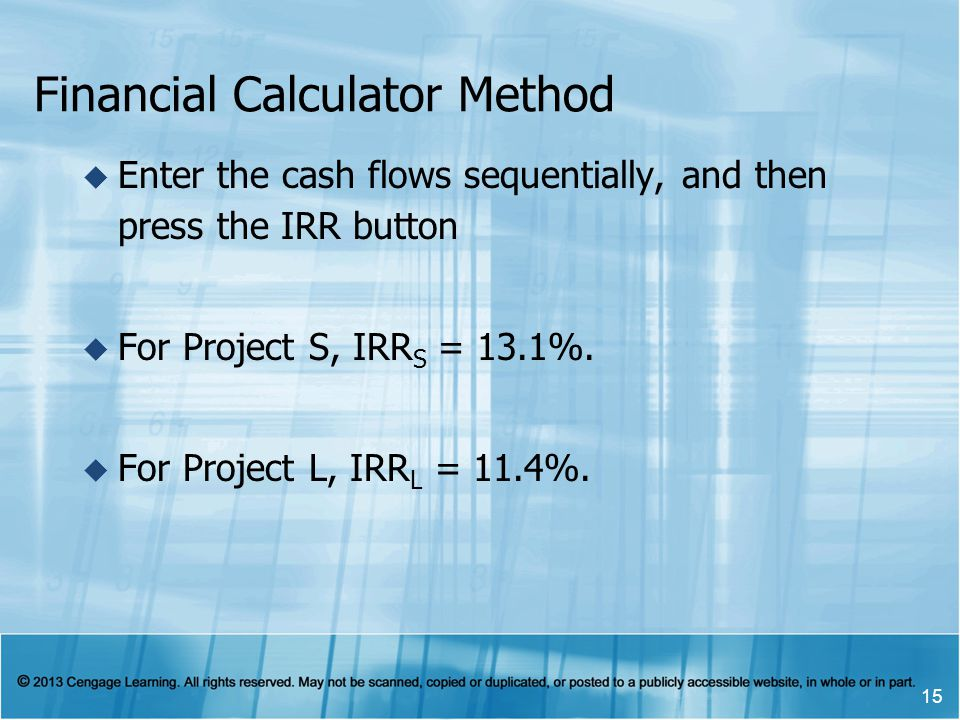 Financial Calculator Method Enter the cash flows sequentially, and then press the IRR button For Project S, IRR S = 13.1%. For Project L, IRR L = 11.4