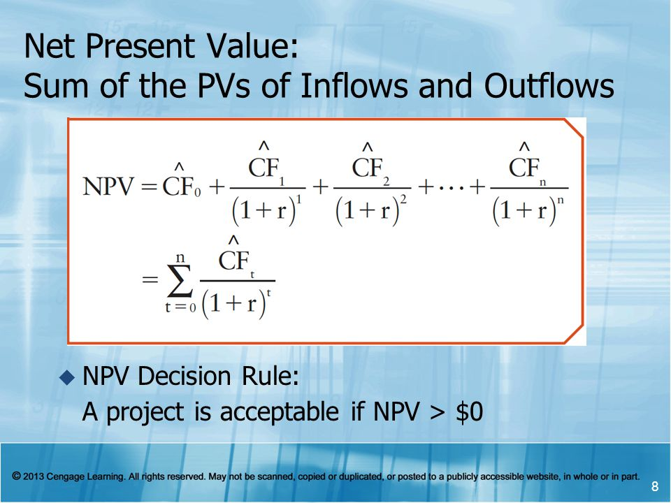 Net Present Value: Sum of the PVs of Inflows and Outflows NPV Decision Rule: A project is acceptable if NPV > $0 8