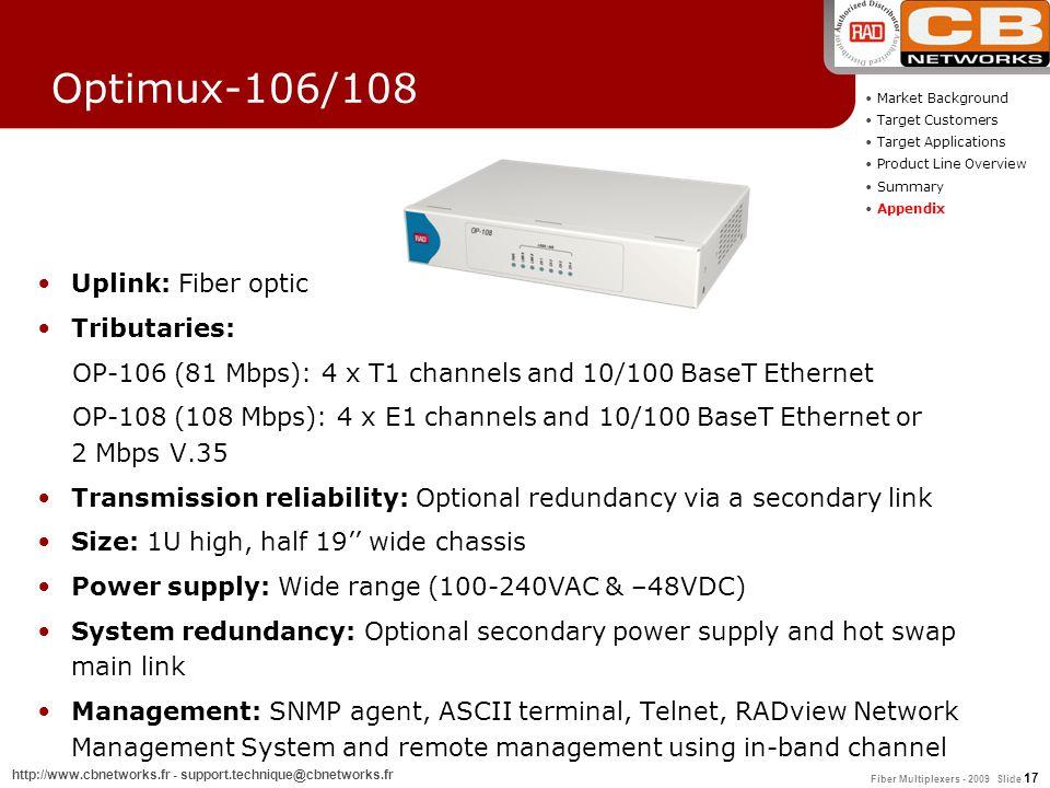 Fiber Multiplexers - 2009 Slide 17 http://www.cbnetworks.fr - support.technique@cbnetworks.fr Optimux-106/108 Uplink: Fiber optic Tributaries: OP-106