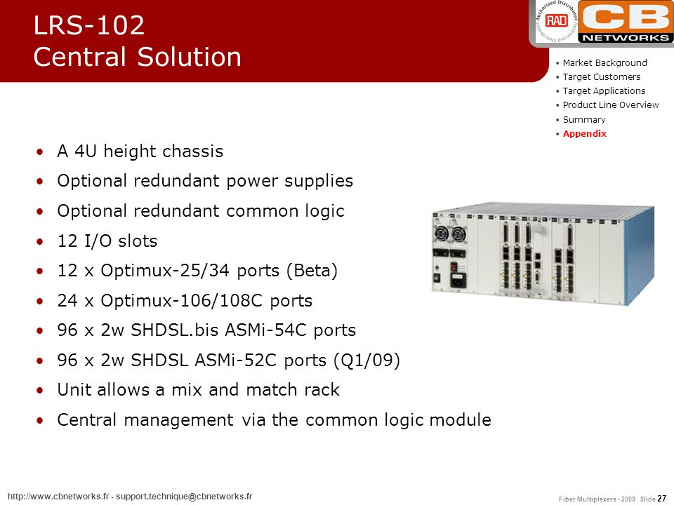 Fiber Multiplexers - 2009 Slide 27 http://www.cbnetworks.fr - support.technique@cbnetworks.fr LRS-102 Central Solution A 4U height chassis Optional re
