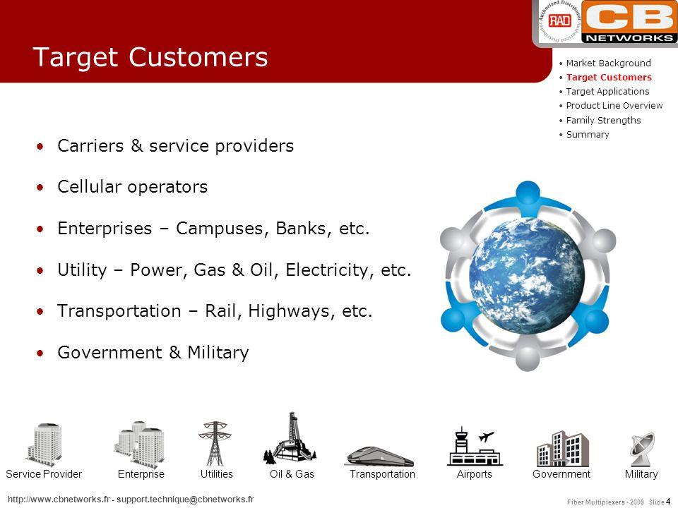 Fiber Multiplexers - 2009 Slide 4 http://www.cbnetworks.fr - support.technique@cbnetworks.fr Target Customers Carriers & service providers Cellular op