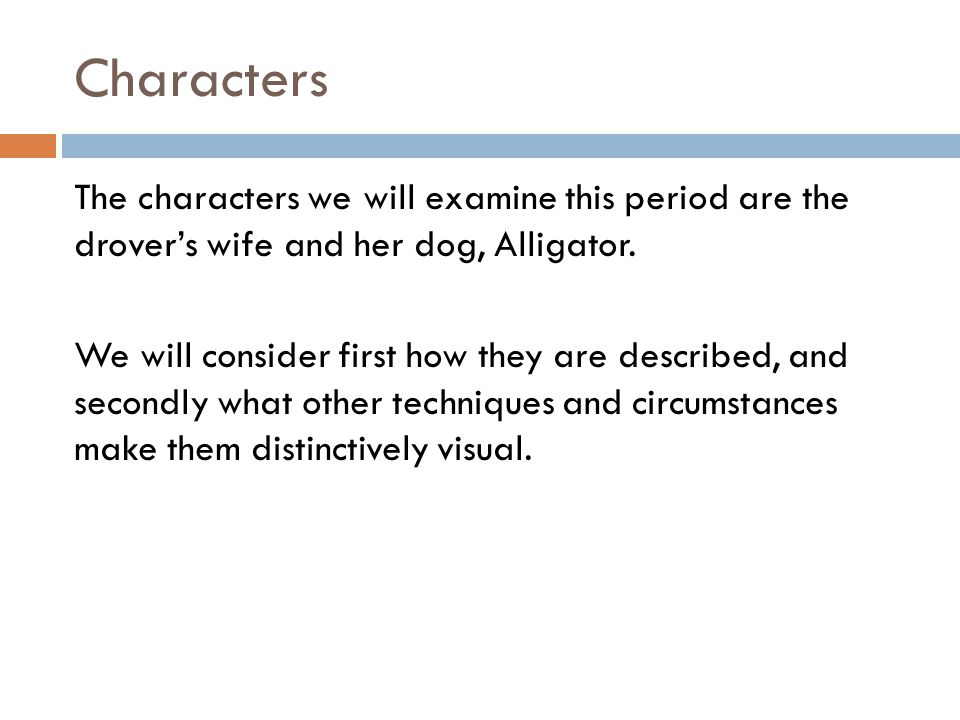 Characters The characters we will examine this period are the drovers wife and her dog, Alligator. We will consider first how they are described, and
