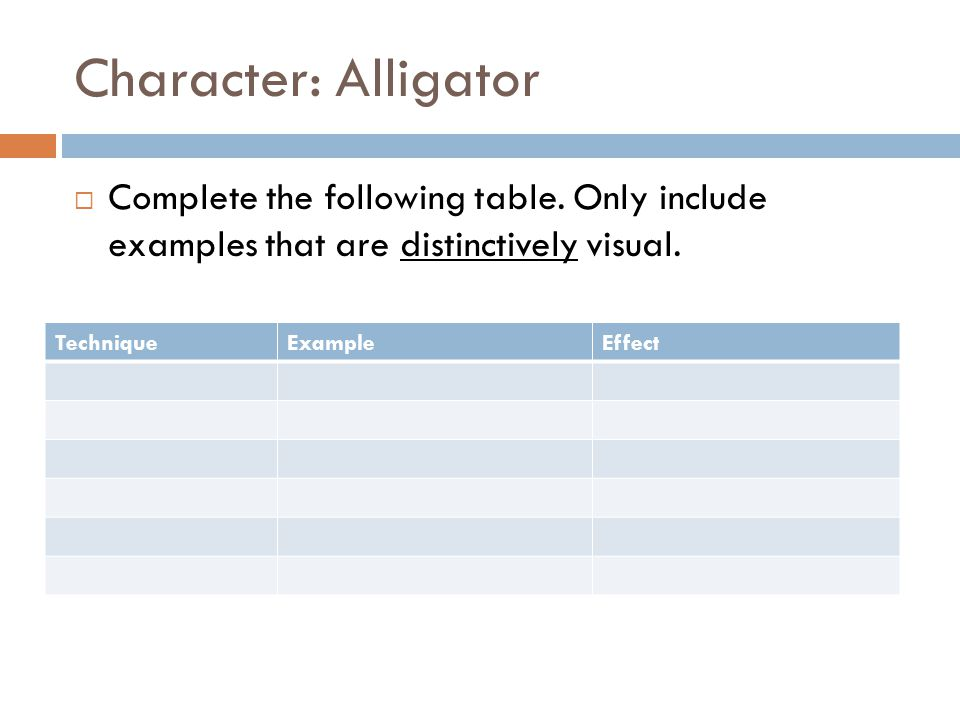 Character: Alligator Complete the following table. Only include examples that are distinctively visual. TechniqueExampleEffect
