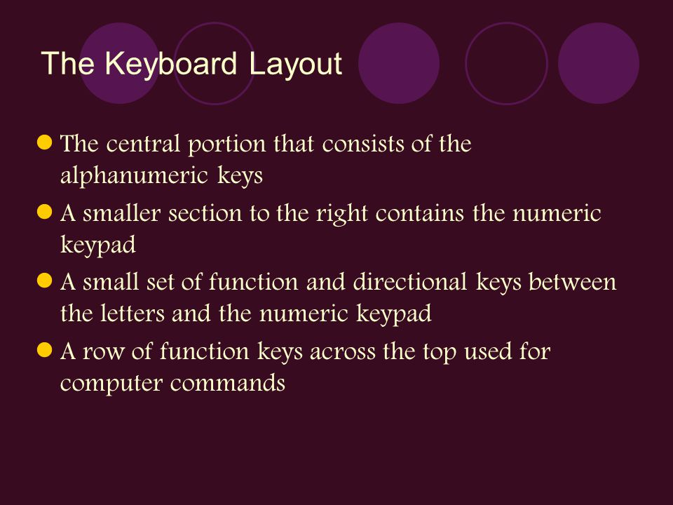 The Keyboard Layout The central portion that consists of the alphanumeric keys A smaller section to the right contains the numeric keypad A small set
