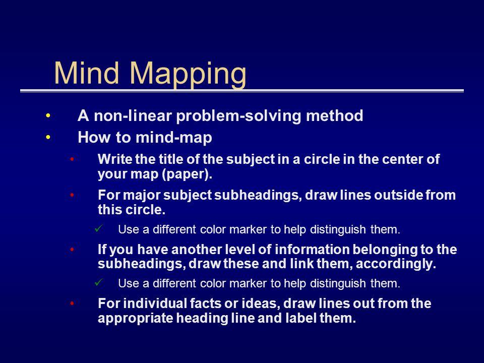 Example Mind Map Subject Solution 1 Solution 2 Solution 3 Issue 1 Issue 2 Solution 1 Solution 2 Solution 3 DONT FORGET TO: Define problem List contingencies List resources Brainstorm ideas List assumptions