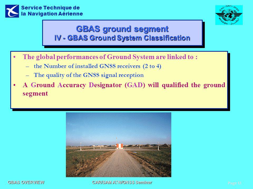 Page 13 GBAS OVERVIEW CAR/SAM ATN/GNSS Seminar Service Technique de la Navigation Aérienne GBAS ground segment IV - GBAS Ground System Classification