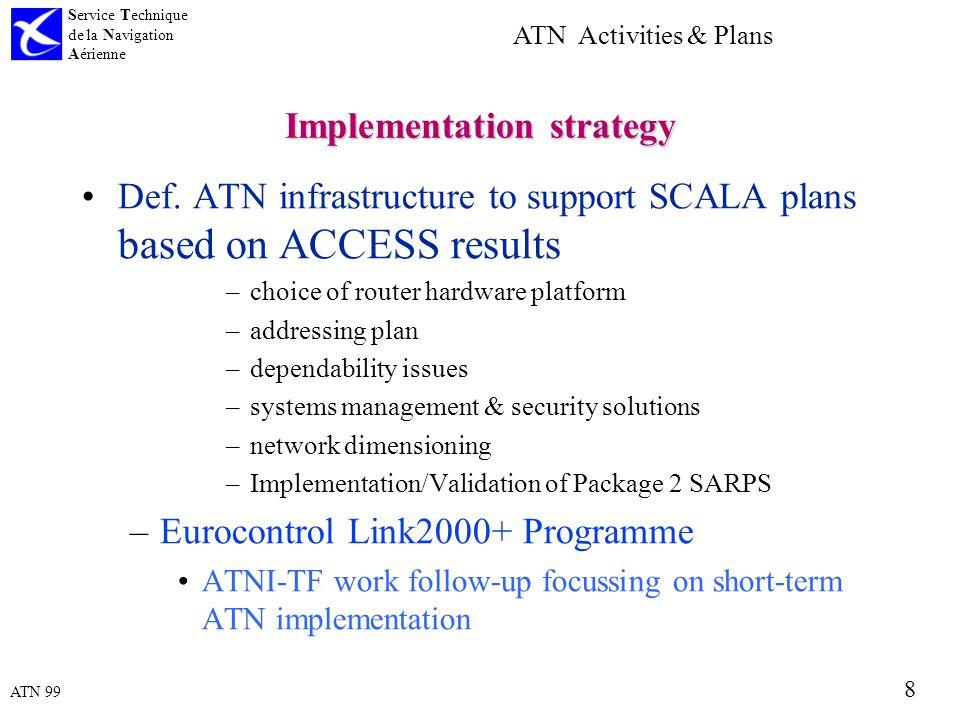 ATN 99 Service Technique de la Navigation Aérienne 8 ATN Activities & Plans Implementation strategy Def.