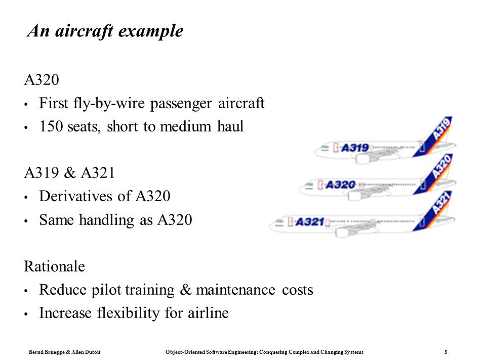 Bernd Bruegge & Allen Dutoit Object-Oriented Software Engineering: Conquering Complex and Changing Systems 5 An aircraft example A320 First fly-by-wir