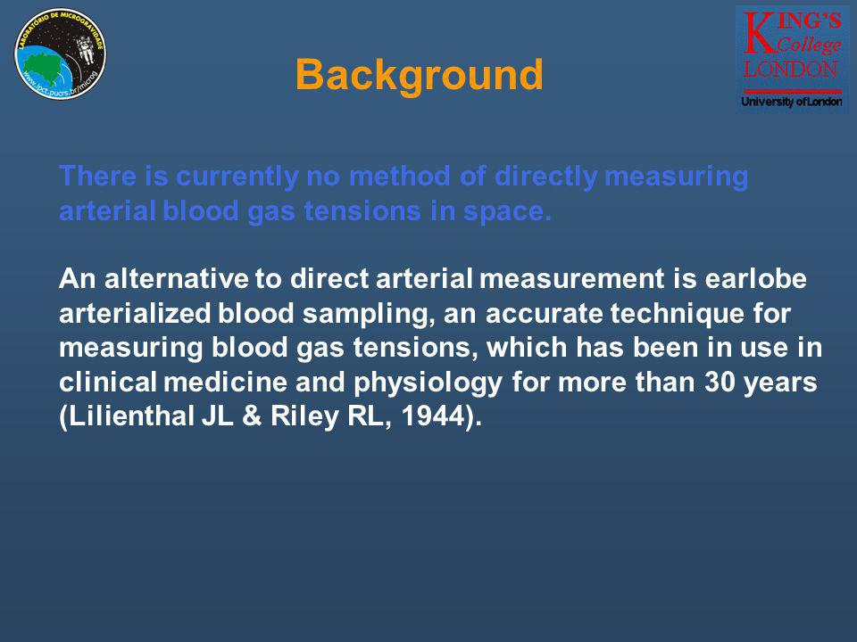 There is currently no method of directly measuring arterial blood gas tensions in space. Background