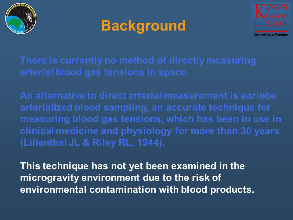 There is currently no method of directly measuring arterial blood gas tensions in space.