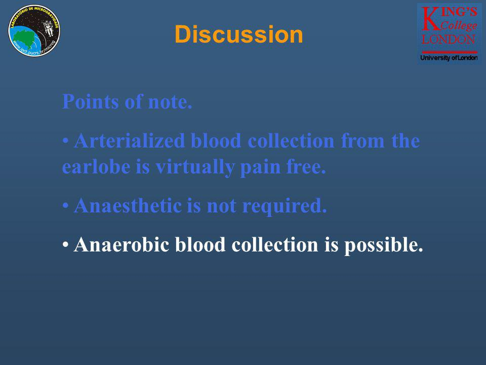 Discussion Points of note. Arterialized blood collection from the earlobe is virtually pain free.