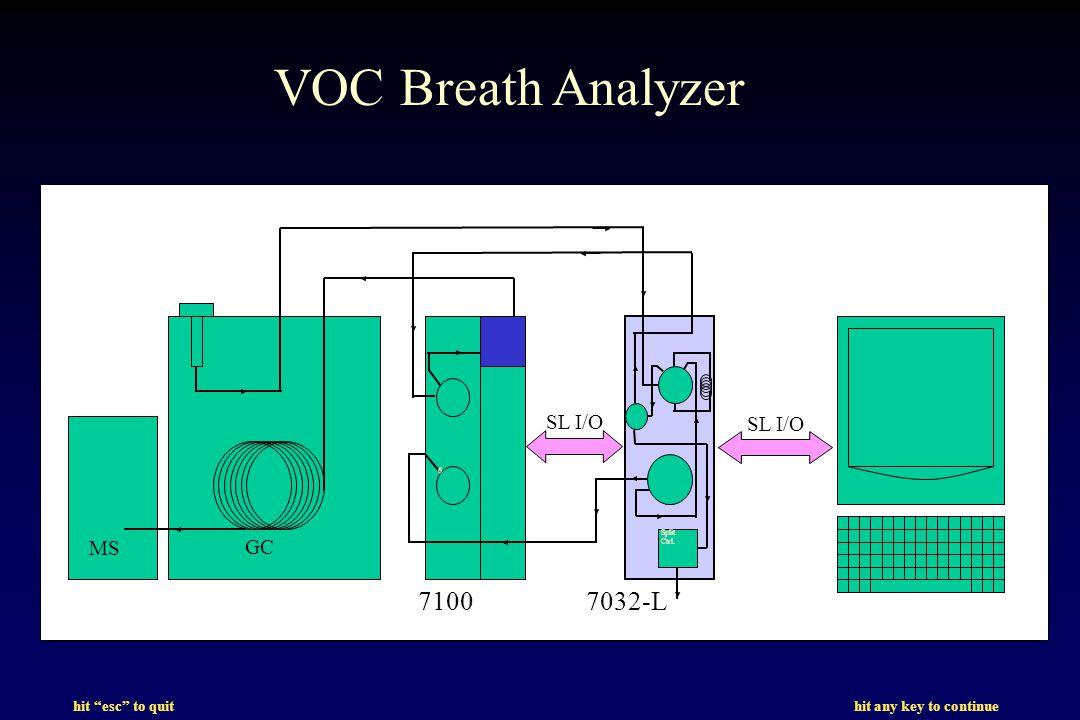 hit esc to quit hit any key to continue GC MS 6 Split Ctrl. VOC Breath Analyzer 71007032-L SL I/O