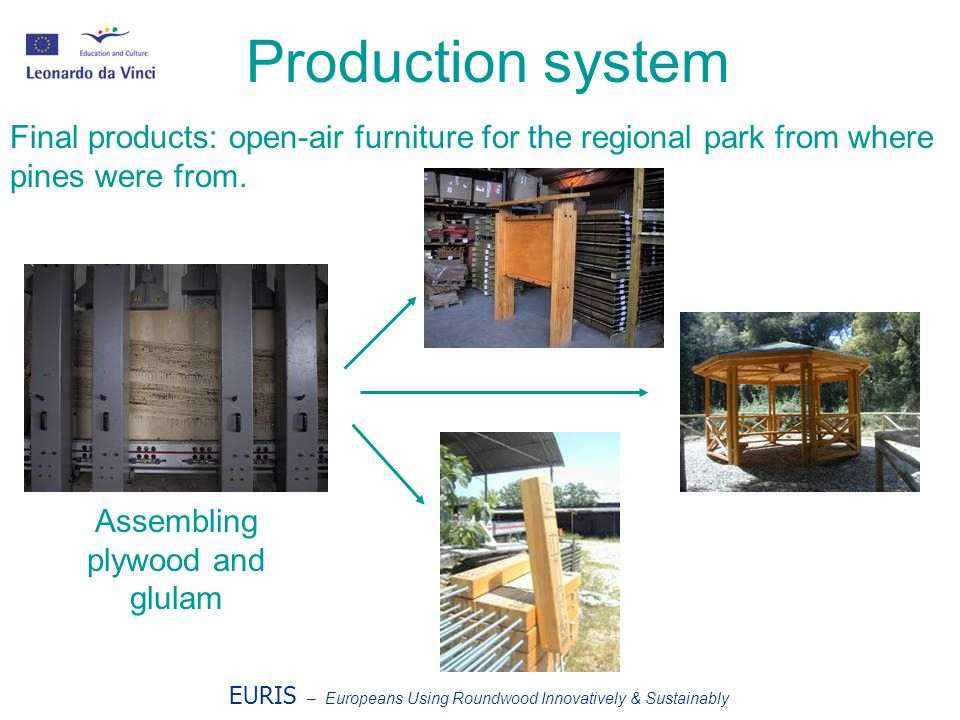 EURIS – Europeans Using Roundwood Innovatively & Sustainably Production system Final products: open-air furniture for the regional park from where pines were from.