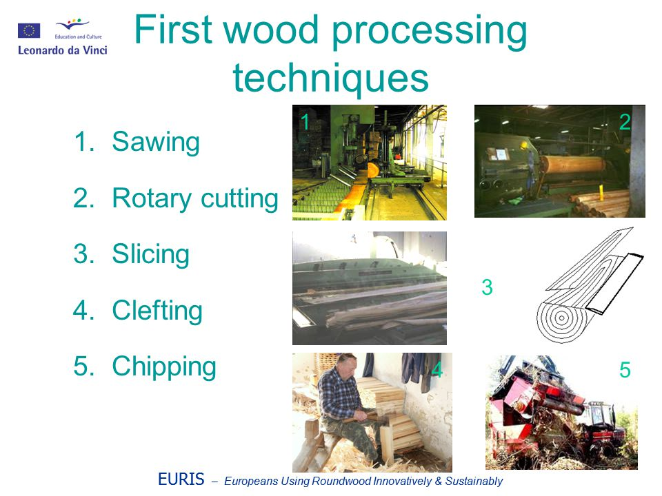 EURIS – Europeans Using Roundwood Innovatively & Sustainably Low technology/high design Seesaw made with chestnut wood Chestnut sawn wood: Vertical element made of two chestnut coupled boards.