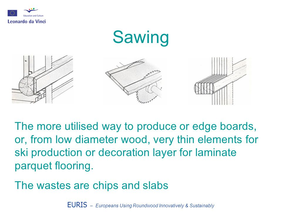 Sawing The more utilised way to produce or edge boards, or, from low diameter wood, very thin elements for ski production or decoration layer for laminate parquet flooring.