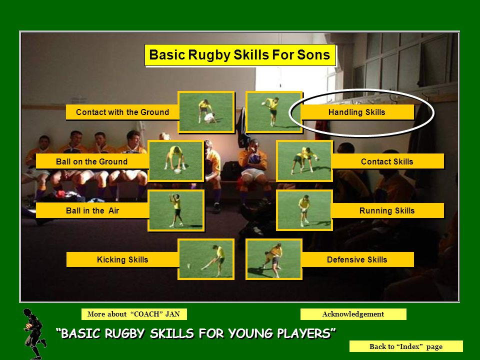 Index Page EQUIPMENT NEEDED RUGBY SKILLS FOR THE PLAYER RUGBY SKILLS FOR THE COACH WHY BASIC RUGBY SKILLS.