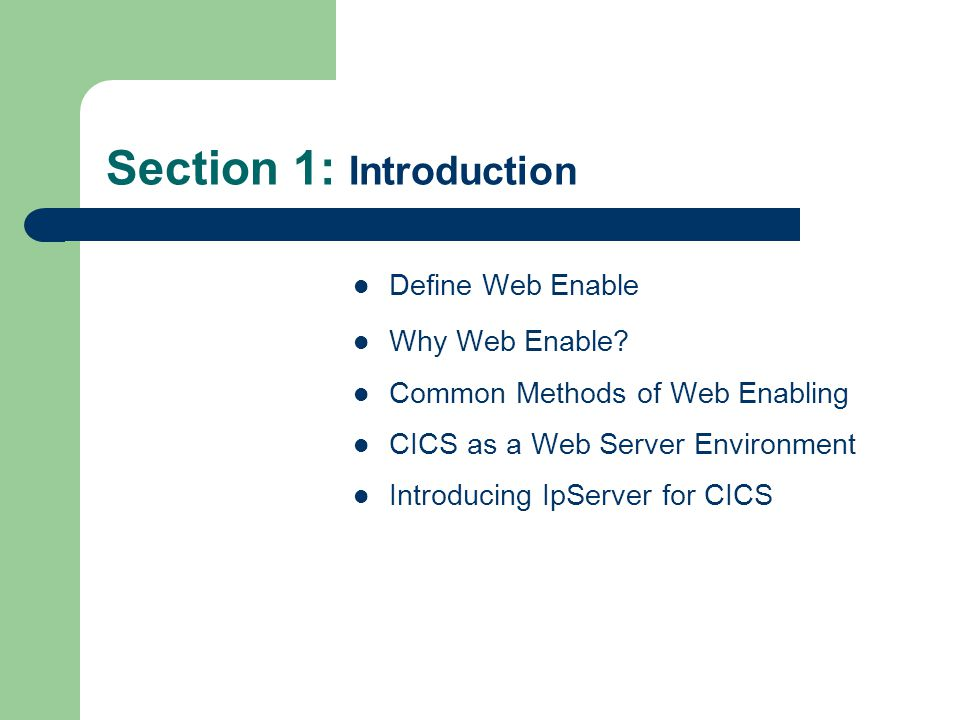 Section 1: Introduction Define Web Enable Why Web Enable? Common Methods of Web Enabling CICS as a Web Server Environment Introducing IpServer for CIC