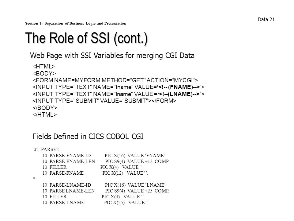 Section 3: Separation of Business Logic and Presentation The Role of SSI (cont.) Data 21 Web Page with SSI Variables for merging CGI Data > > 05 PARSE
