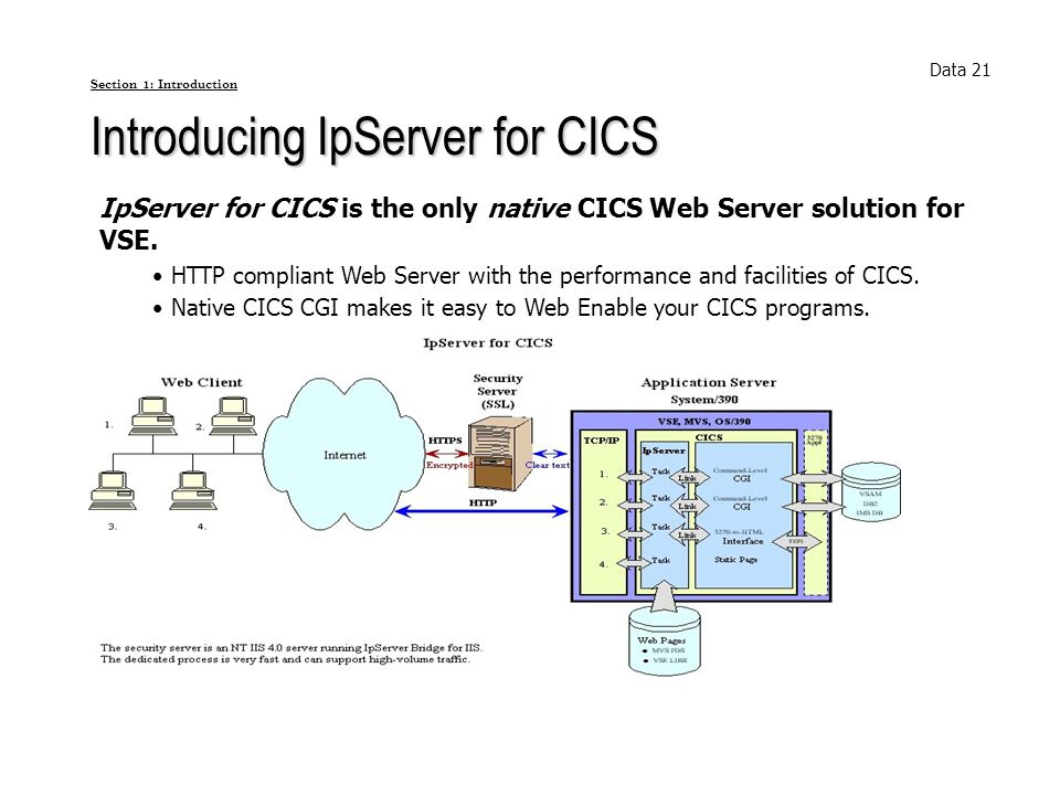 Section 1: Introduction Introducing IpServer for CICS IpServer for CICS is the only native CICS Web Server solution for VSE. HTTP compliant Web Server