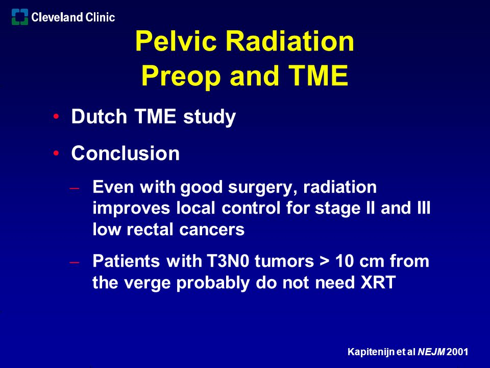 Summary Not all rectal cancers need preoperative radiation therapy Stage I rectal cancers probably do not need adjuvant treatment Predicting which stage II and III lesions require adjuvant tx not currently possible ̶ ELUS is good, MRI is high likely the better Avoid the need for postoperative X-rt Better staging modalities in the future