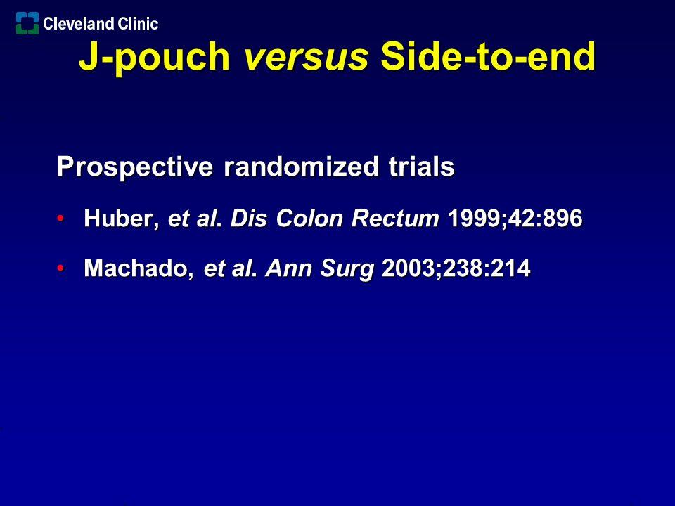 N Pouch size Follow-up Huber59 6 cm/4 cm 6 months Machado100 8 cm/4 cm 12 months J-pouch versus Side-to-end
