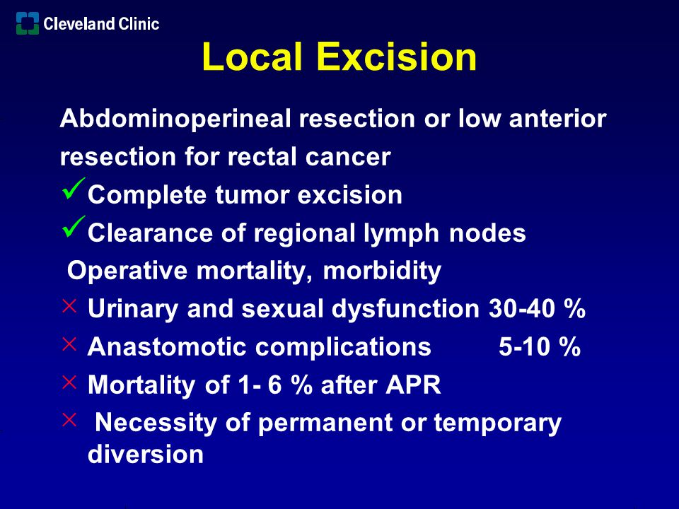 Surgical Approaches Local excision alone Local excision followed by adjuvant therapy Local excision after neoadjuvant therapy Limited surgical morbidity 0-22 %