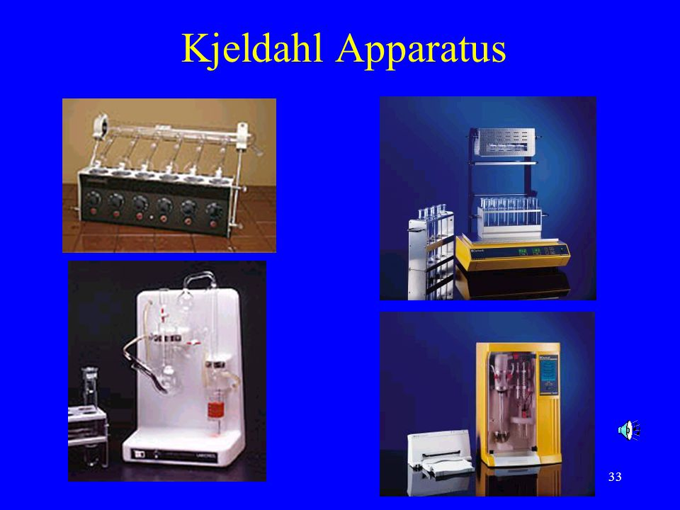 34 Total organic nitrogen - Kjeldahl method Advantages: –applicable to any foods –simple, inexpensive –accurate, official method for crude protein content Disadvantages: –measuring total N not just protein N –time consuming –corrosive reagents