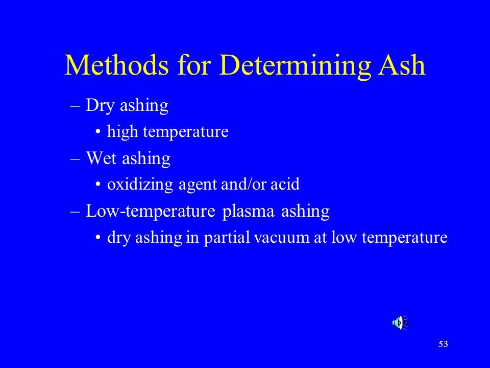 54 Dry Ashing Principles –High temperature (>525 C) overnight (12-18 hr) –total mineral content Instrumentation –Muffle furnace –Crucible quartz porcelain steel nickel platinum