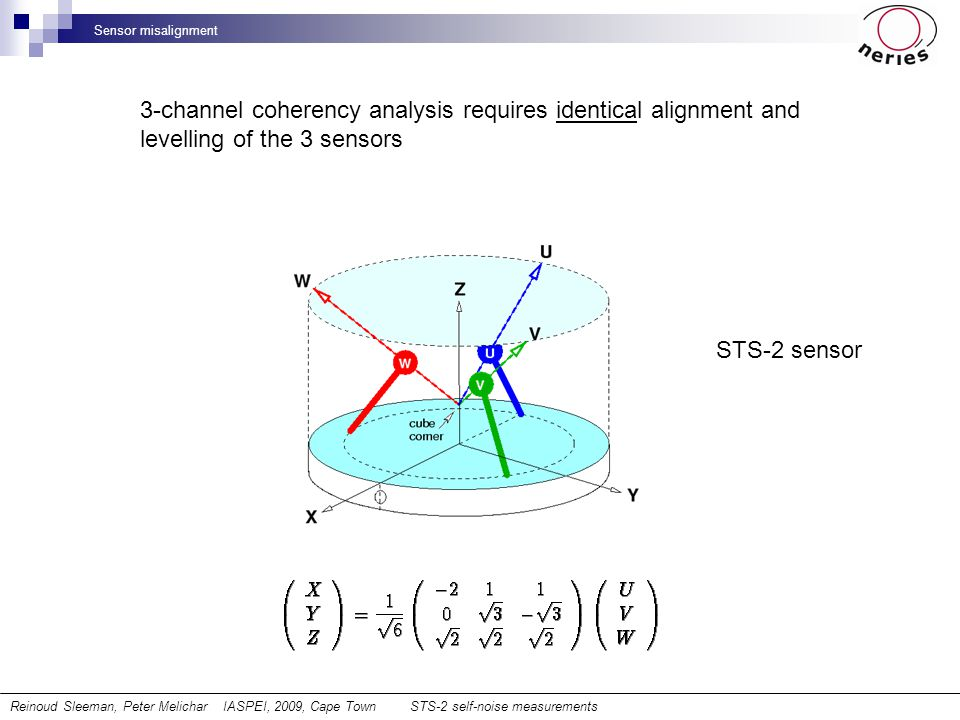 Sensor misalignment STS-2 sensor 3-channel coherency analysis requires identical alignment and levelling of the 3 sensors Reinoud Sleeman, Peter Melic