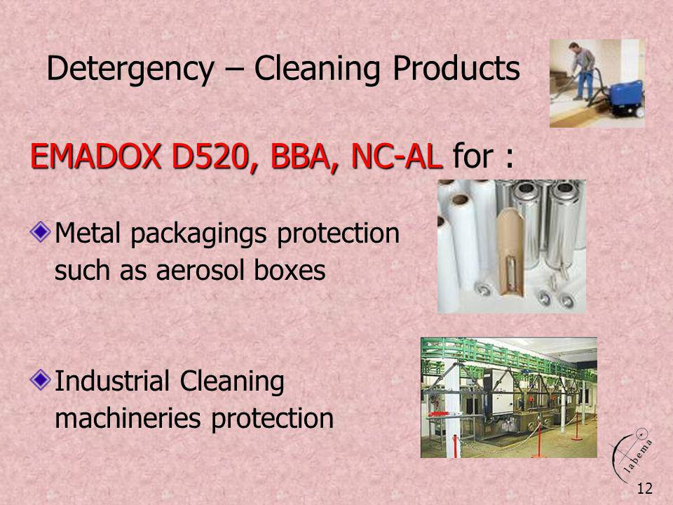 Detergency – Cleaning Products 12 EMADOX D520, BBA, NC-AL EMADOX D520, BBA, NC-AL for : Metal packagings protection such as aerosol boxes Industrial C