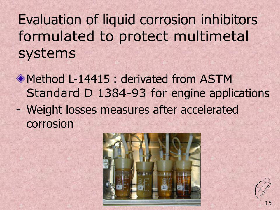 Evaluation of liquid corrosion inhibitors formulated to protect multimetal systems Method L-14415 : derivated from ASTM Standard D 1384-93 for engine