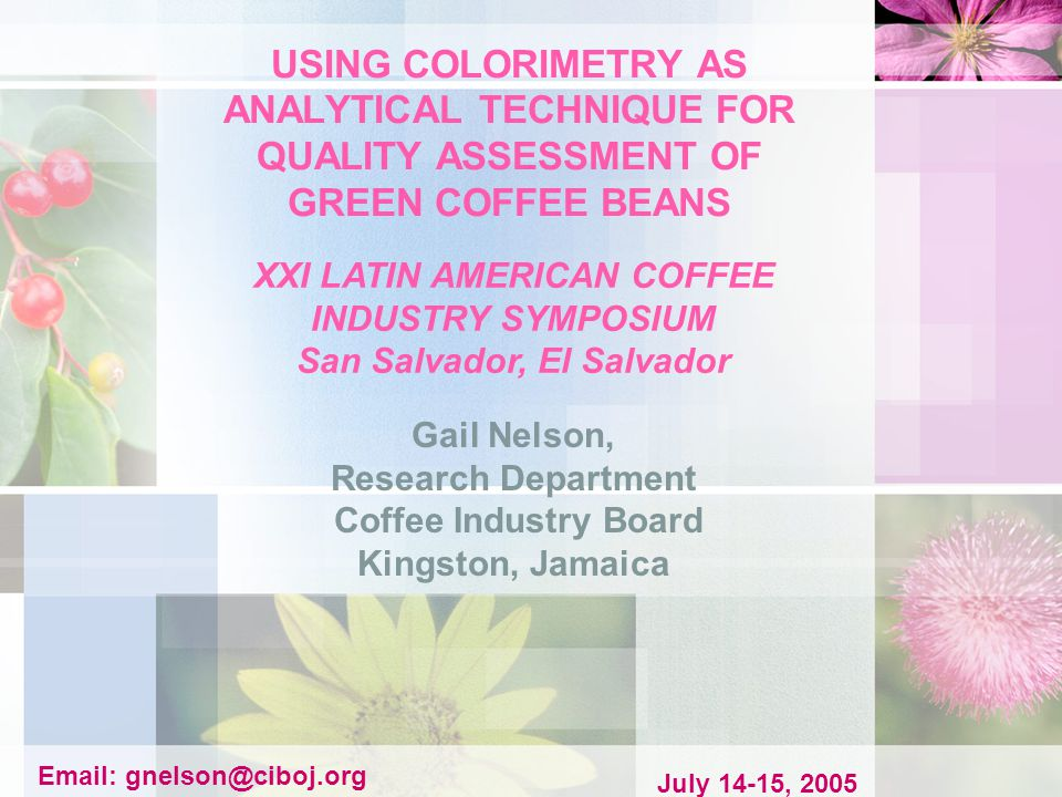 The Colour- meter can therefore find use as a quality assessment tool in industries where colour is a selection criterion/quality index for coffee beans.