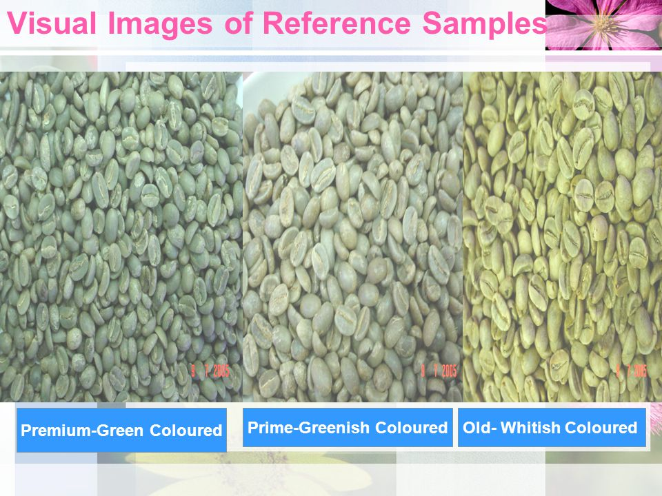 Visual Images of Reference Samples Premium-Green Coloured Prime-Greenish ColouredOld- Whitish Coloured