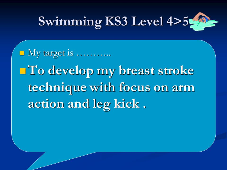Swimming KS3 Level 4>5 My target is ……….. My target is ………..