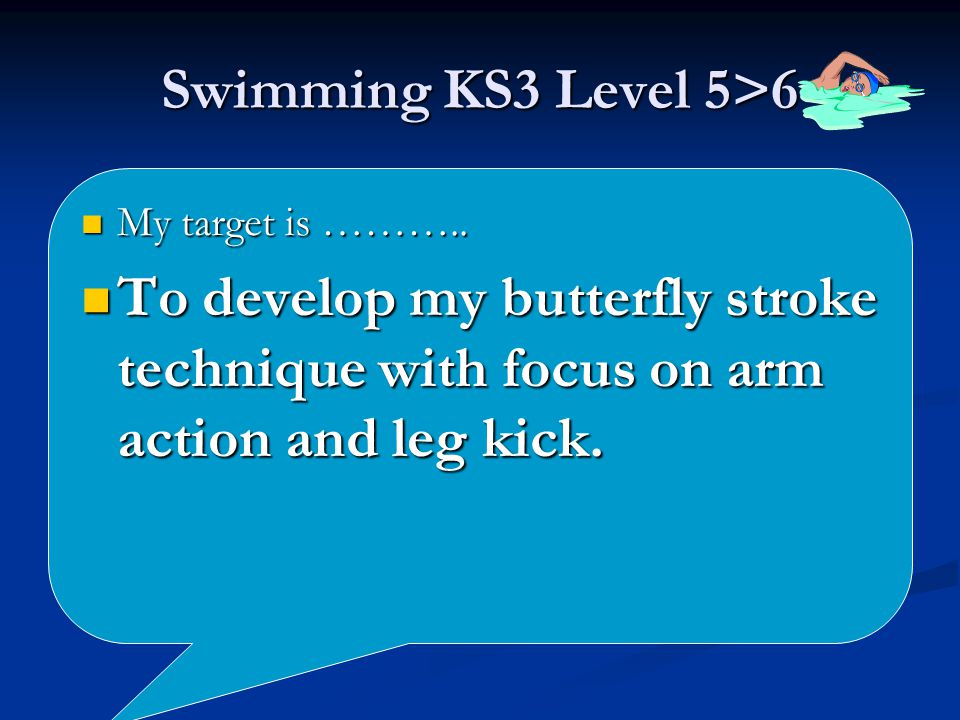 Swimming KS3 Level 5>6 My target is ……….. My target is ………..