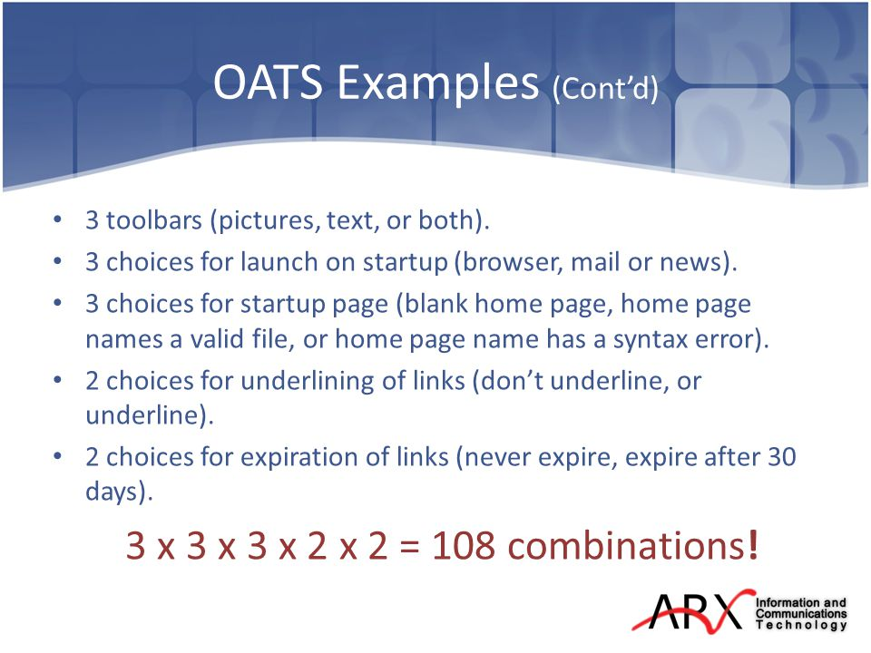 OATS Examples (Contd) 3 toolbars (pictures, text, or both).
