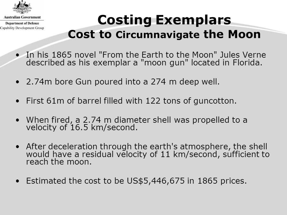 Costing Exemplars Cost to Circumnavigate the Moon In his 1865 novel From the Earth to the Moon Jules Verne described as his exemplar a moon gun located in Florida.