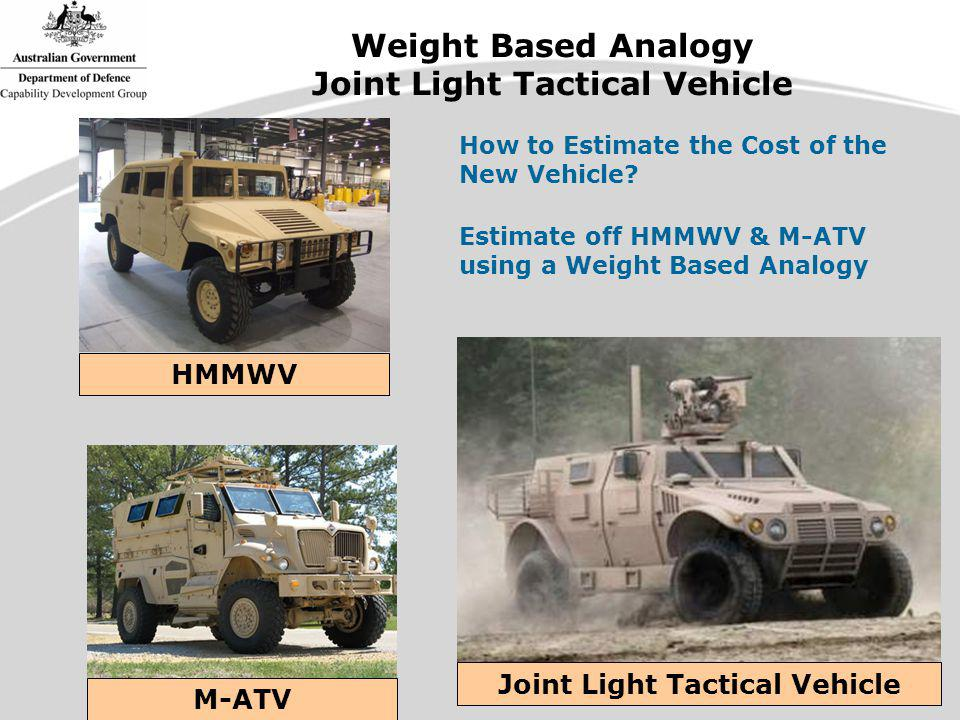 Weight Based Analogy Joint Light Tactical Vehicle M-ATV Joint Light Tactical Vehicle HMMWV How to Estimate the Cost of the New Vehicle.