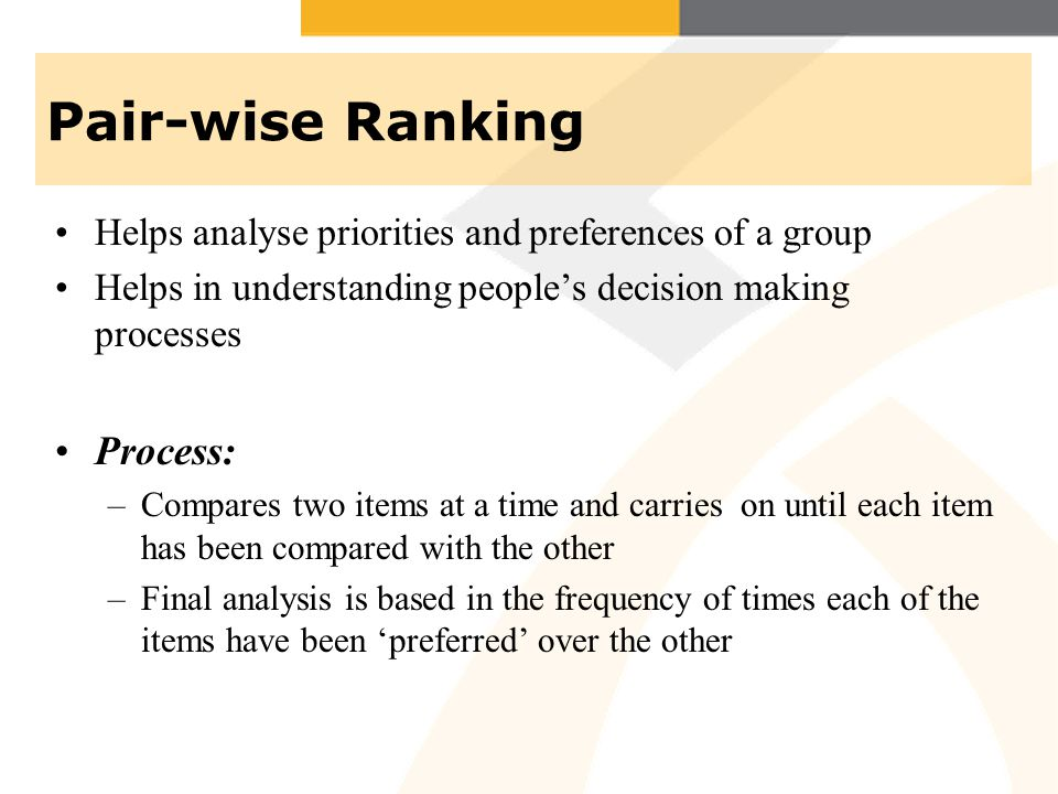Pair-wise Ranking Helps analyse priorities and preferences of a group Helps in understanding peoples decision making processes Process: –Compares two items at a time and carries on until each item has been compared with the other –Final analysis is based in the frequency of times each of the items have been preferred over the other