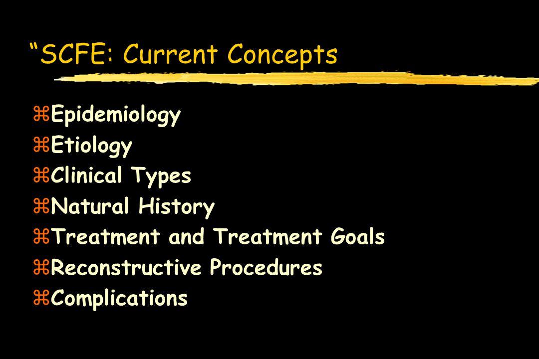 SCFE: Current Concepts zEpidemiology zEtiology zClinical Types zNatural History zTreatment and Treatment Goals zReconstructive Procedures zComplicatio