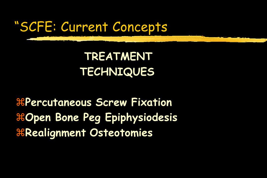 SCFE: Current Concepts TREATMENT TECHNIQUES zPercutaneous Screw Fixation zOpen Bone Peg Epiphysiodesis zRealignment Osteotomies