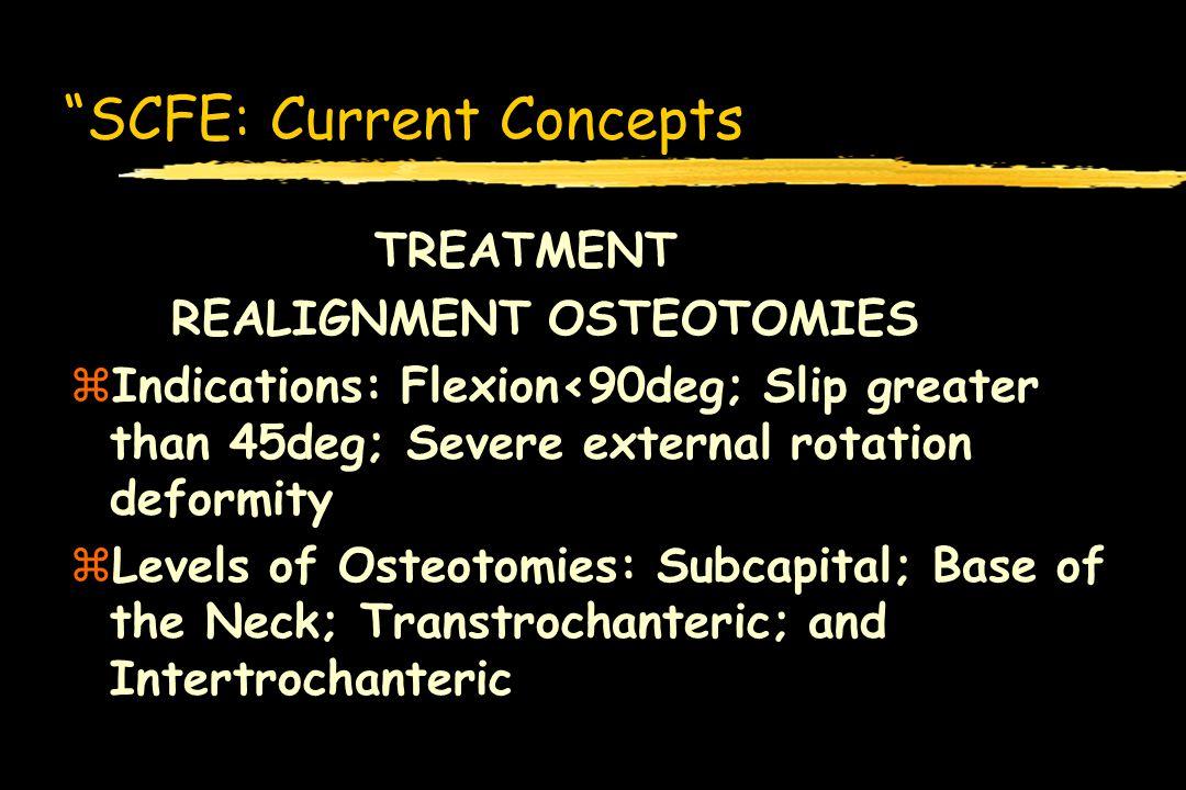 SCFE: Current Concepts TREATMENT REALIGNMENT OSTEOTOMIES zIndications: Flexion<90deg; Slip greater than 45deg; Severe external rotation deformity zLev