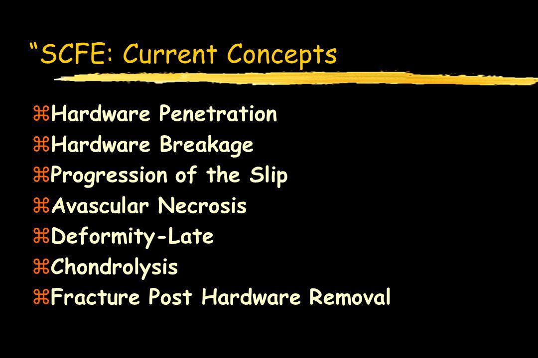 SCFE: Current Concepts zHardware Penetration zHardware Breakage zProgression of the Slip zAvascular Necrosis zDeformity-Late zChondrolysis zFracture P