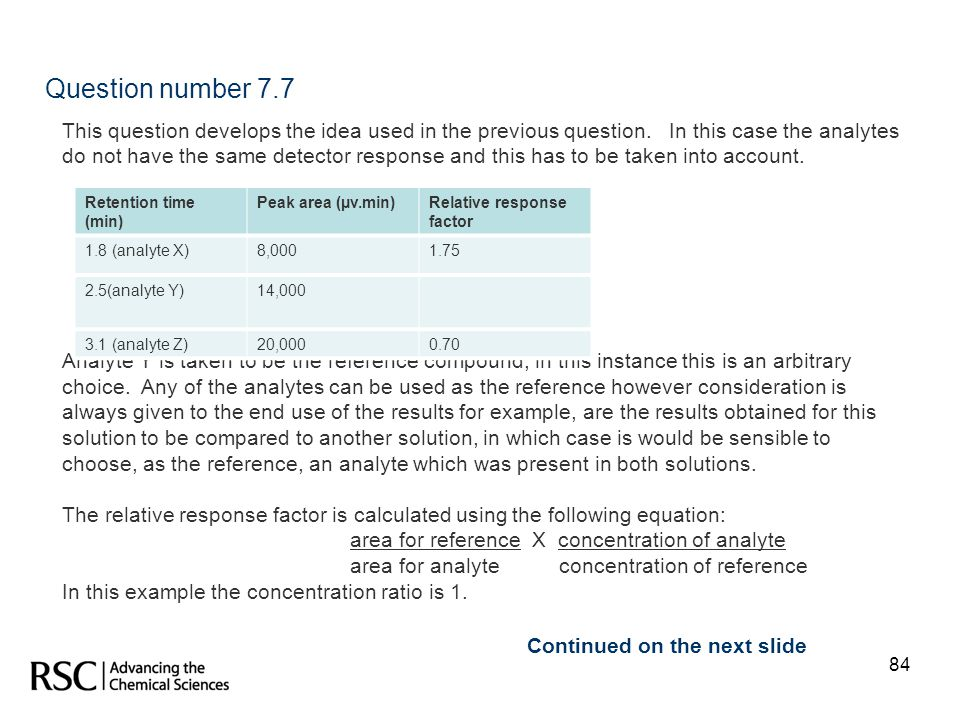 84 Question number 7.7 This question develops the idea used in the previous question. In this case the analytes do not have the same detector response